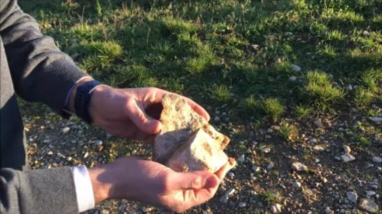Rocks from the soil in a vineyard in Burgundy, France