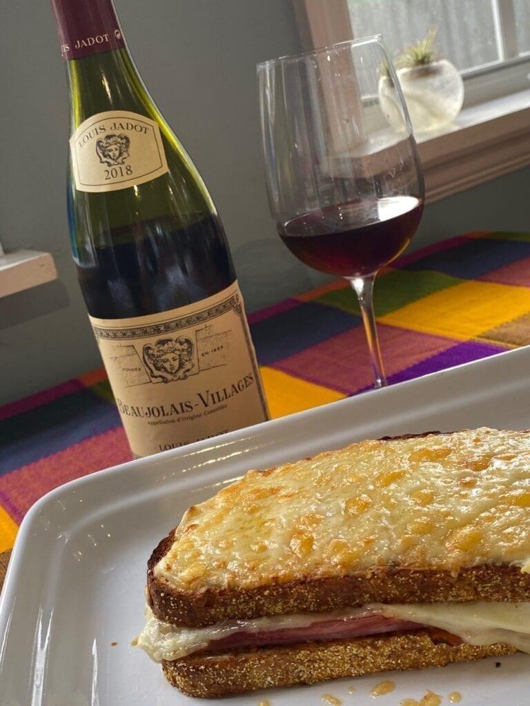 Louis Jadot Beaujolais Villages and croque monsieur sandwich