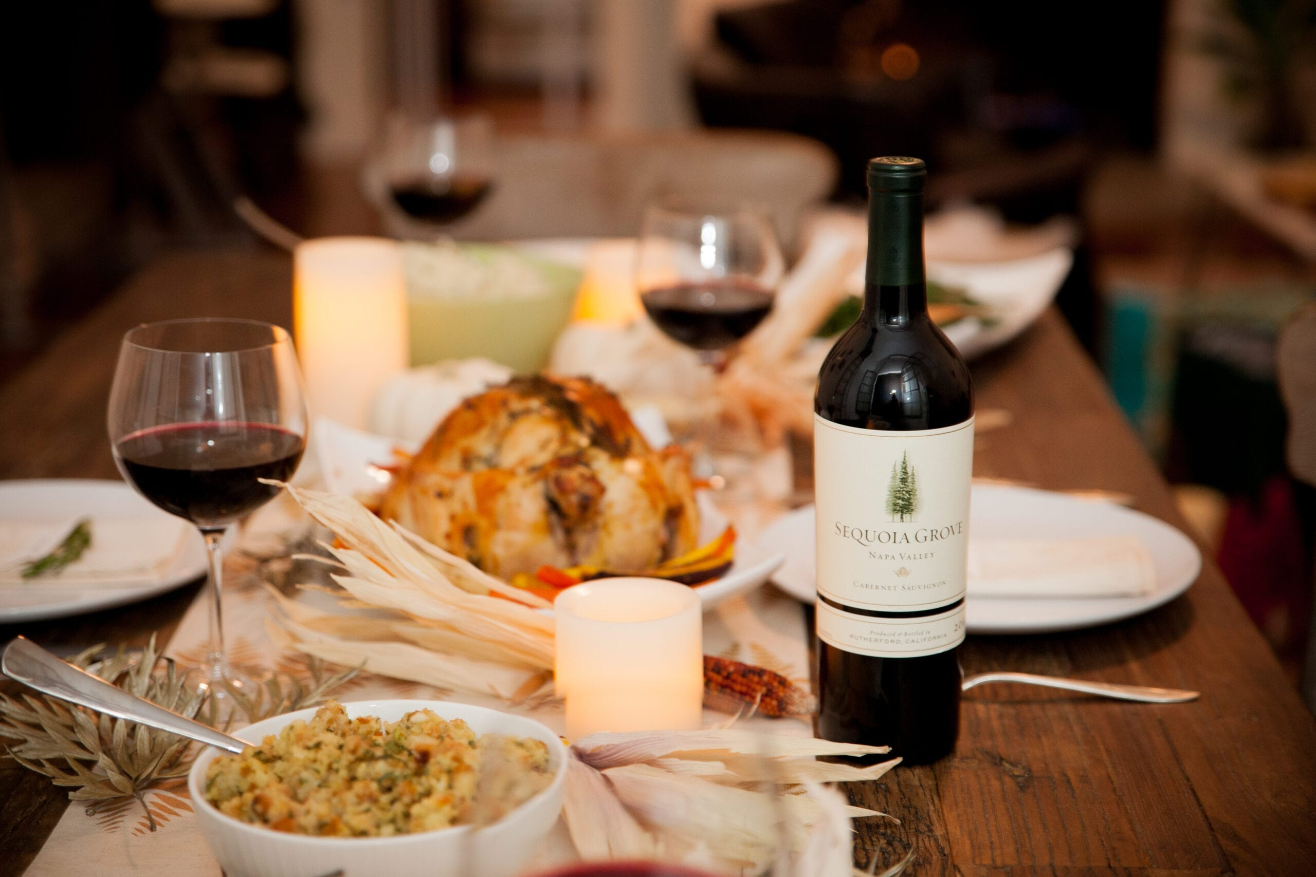 Sequoia Grove Thanksgiving table setting, feast, dinner, wine