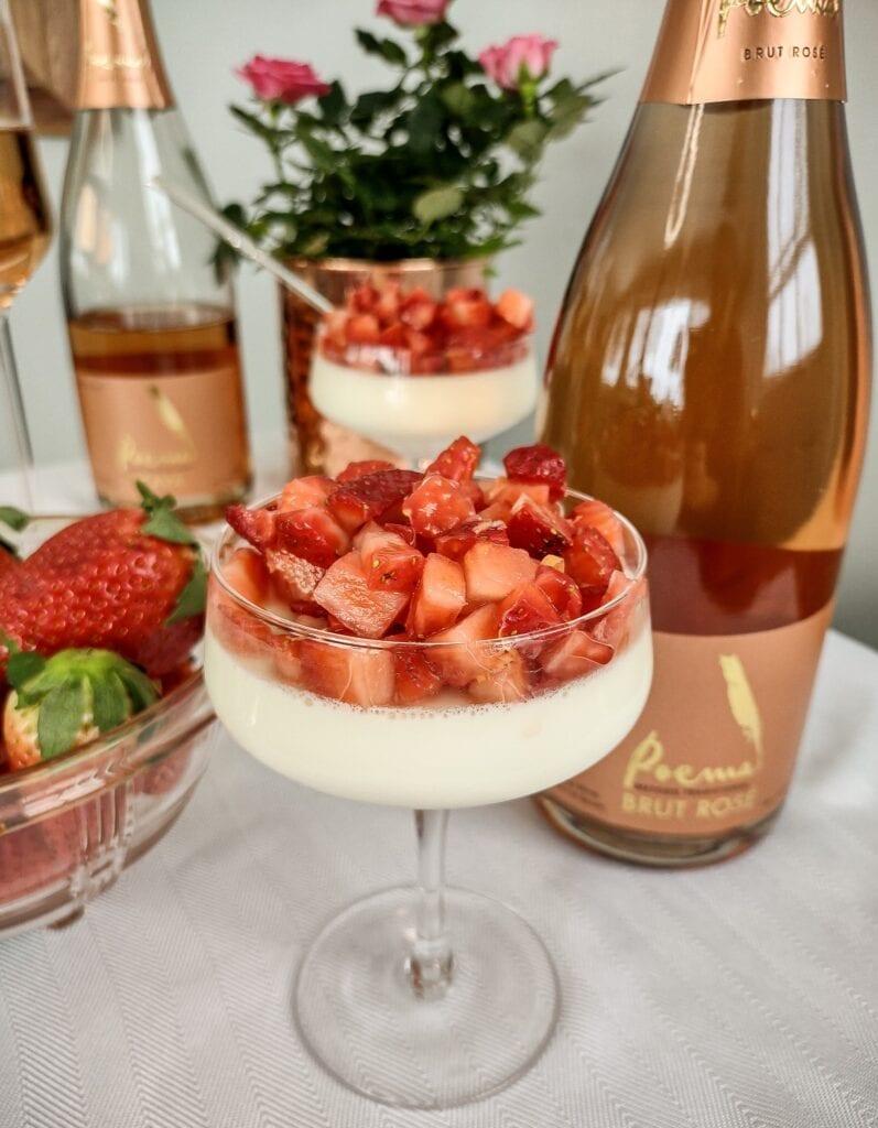 Valentine's Day Sparkling Strawberry and Vanilla Bean Panna Cotta Recipe