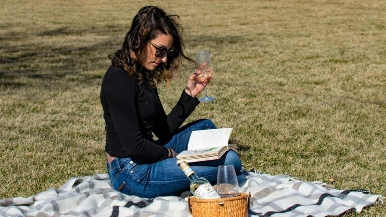 Caposaldo, wine picnic, reading, book