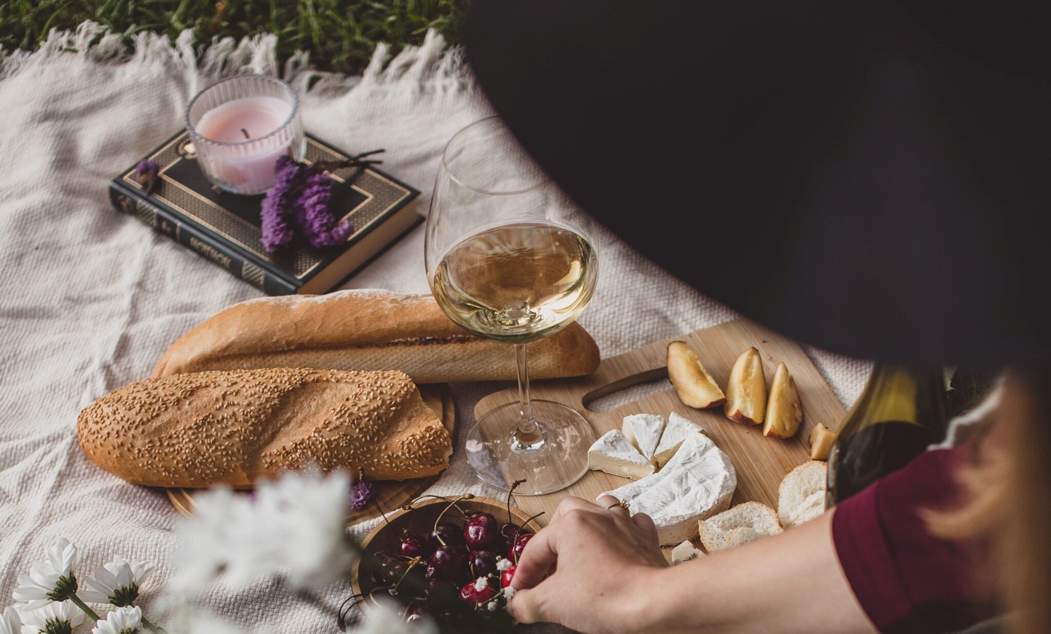 Wine picnic, reading, cheese, pairings. By Alexandra K, Unsplash