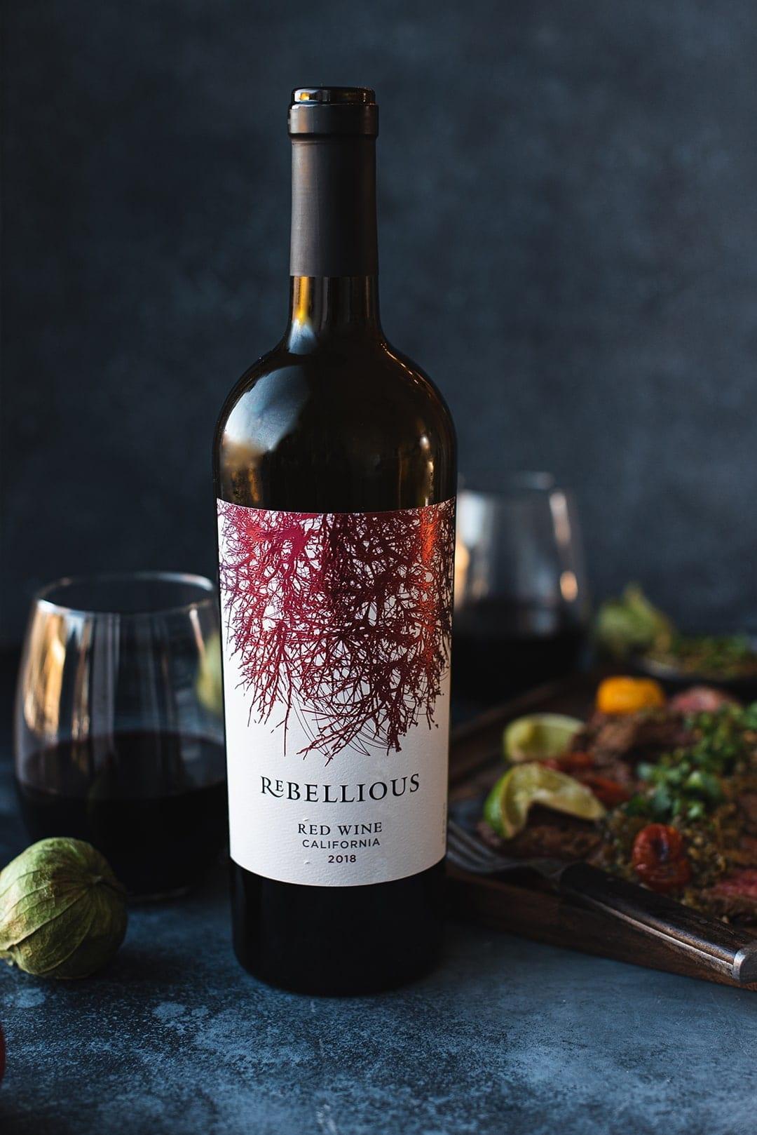 Rebellious red blend wine bottle