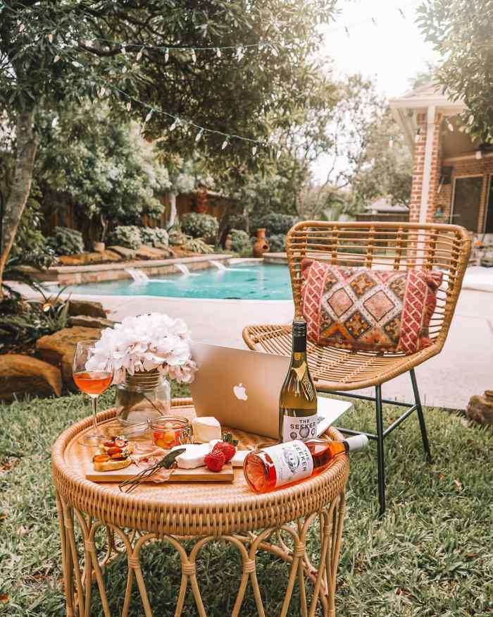 Chacuterie board set up outside by the pool