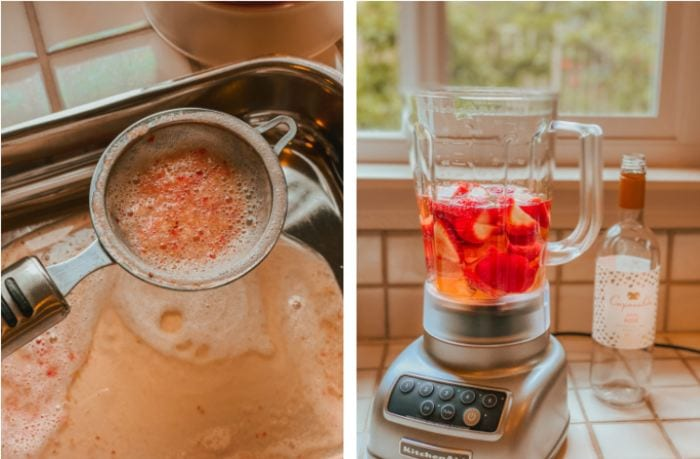 Making frose with rose wine - blending and straining preparation