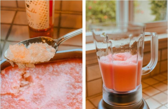 Making frose with rose wine - freezing and blending preparation