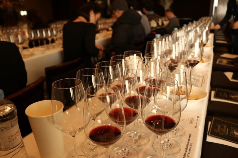 Line of Glasses with Red Wine