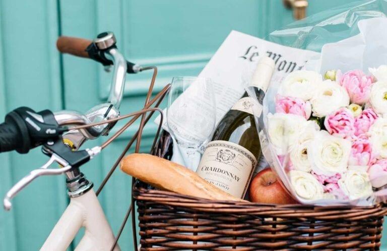 Wine bottle in bike basket, wine shopping