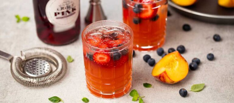 Croft Pink Port in a summer cocktail with peaches and berries