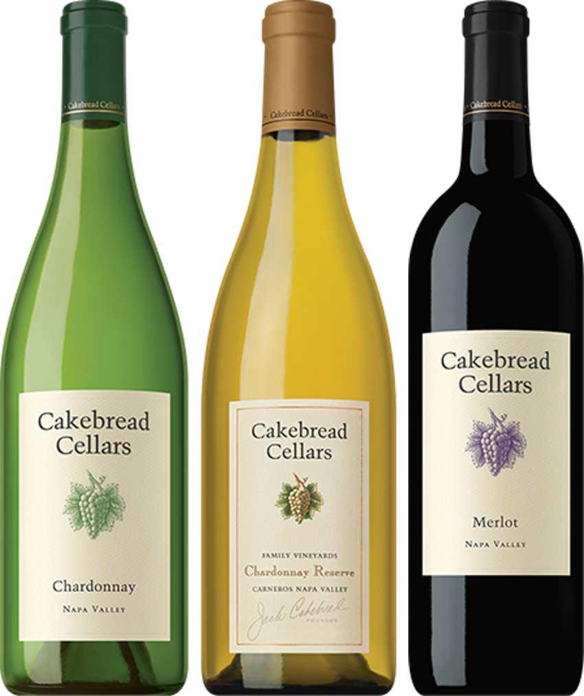 Three Cakebread wine bottles