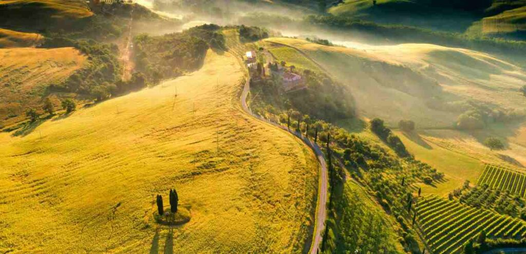 Tuscan landscape from above