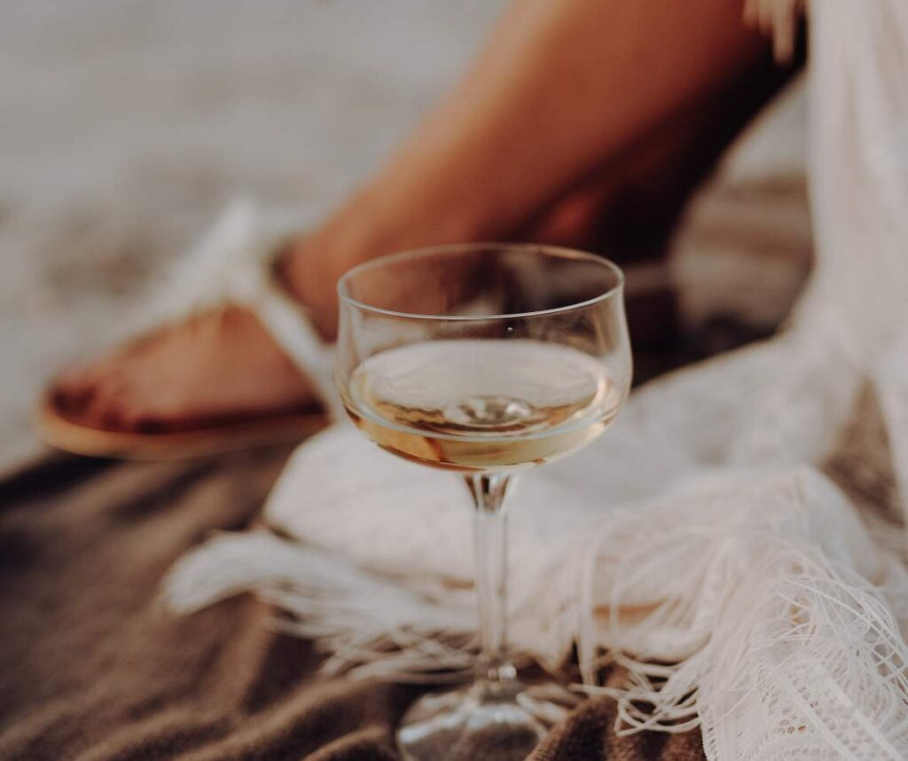 White wine and sandals