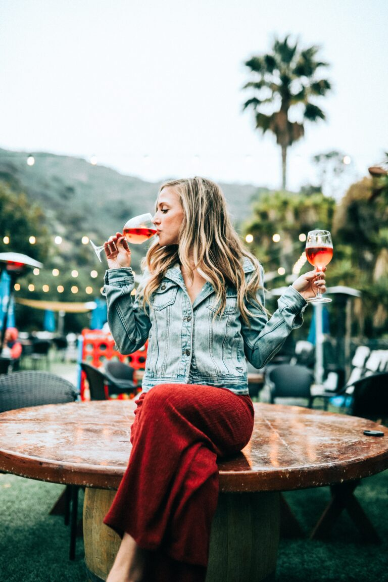 girl with two glasses of rose
