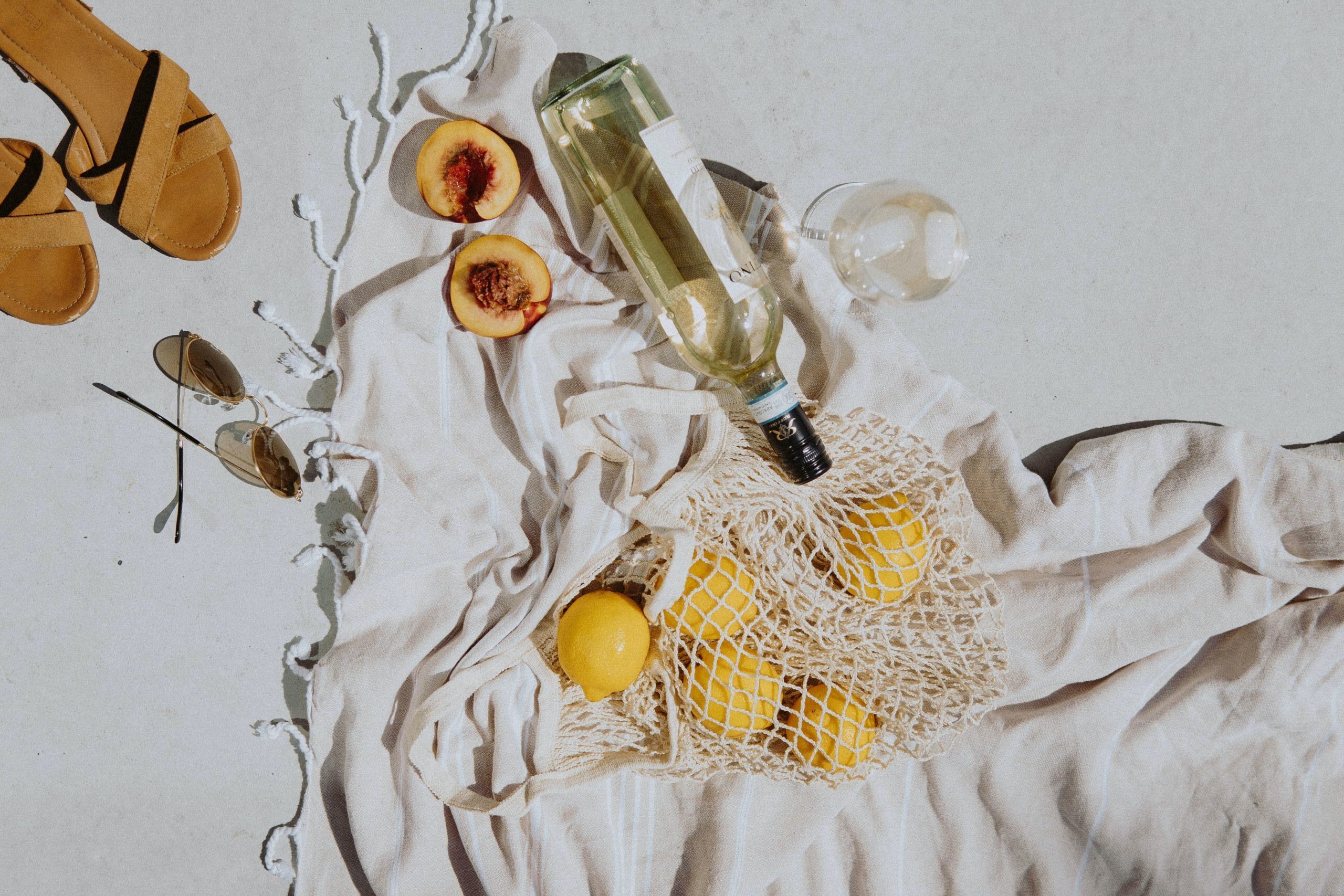 beach blanket with wine