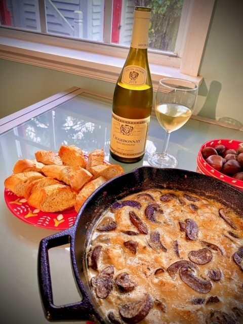 mushroom chicken bake with chardonnay wine
