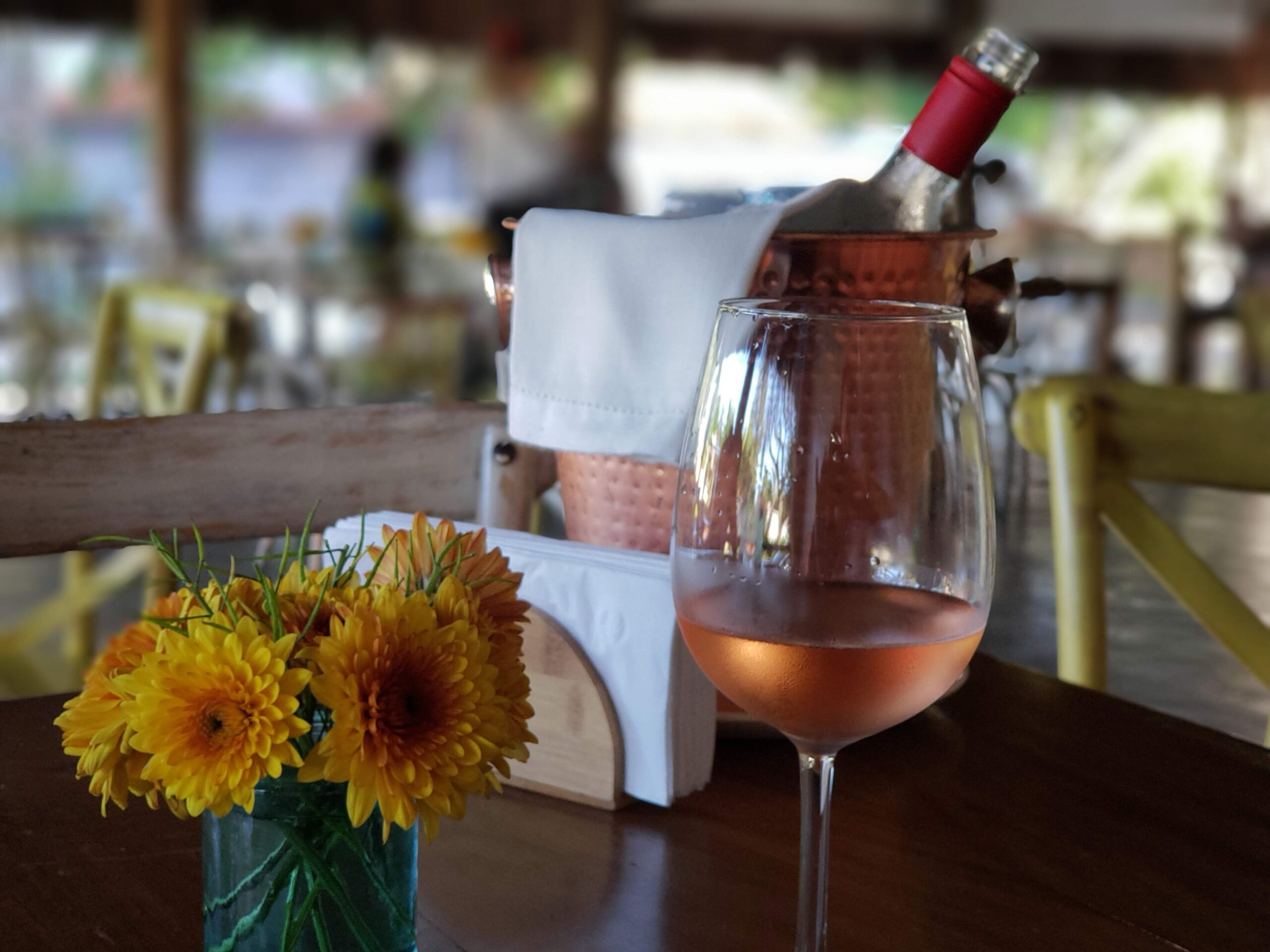 Rose wine and Sunflowers