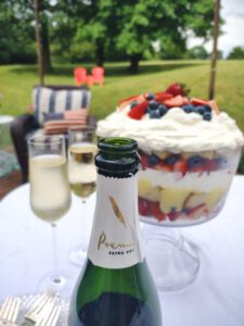 Cava and berry trifle