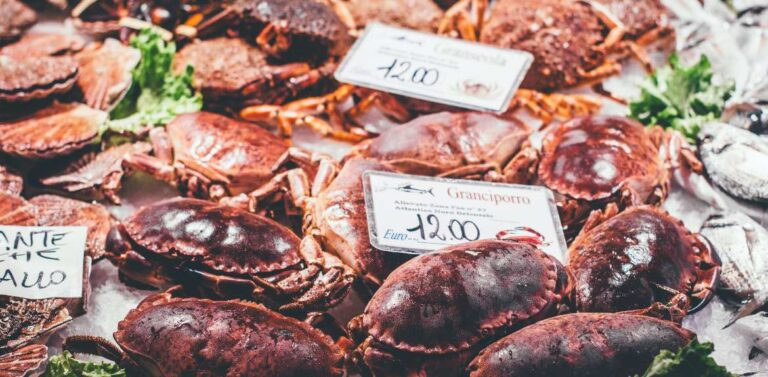 Crabs in seafood market in Italy