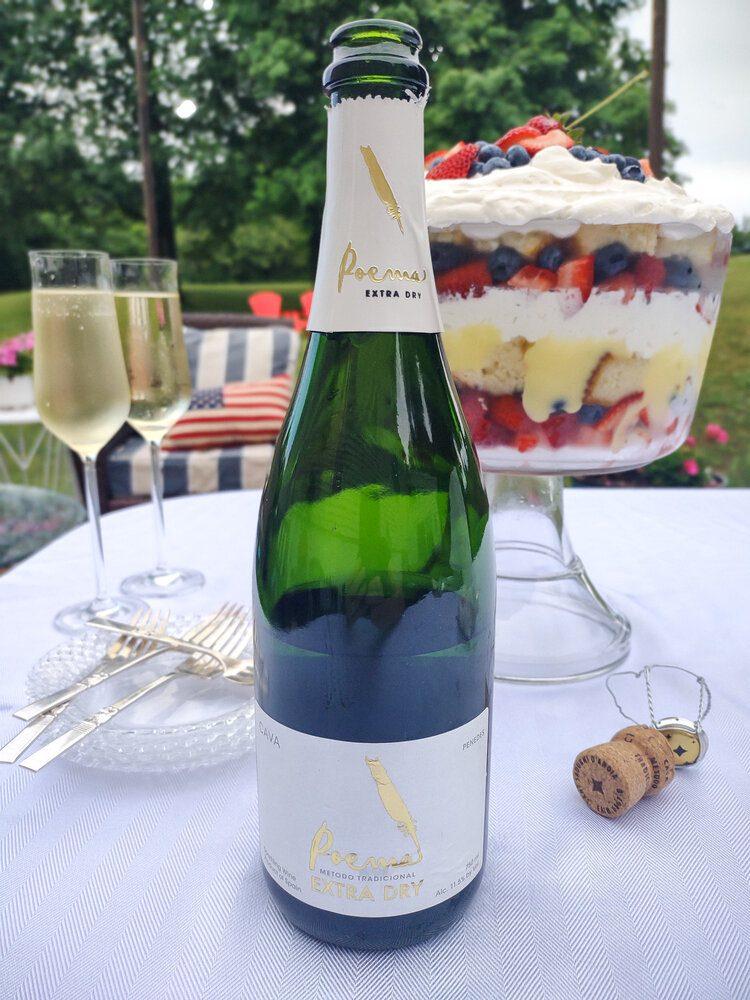 Poema Cava wine and berry trifle