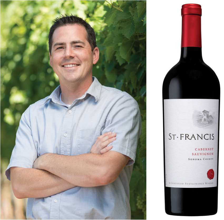 Chris Louton and St. Francis Cabernet Sauvignon wine bottle