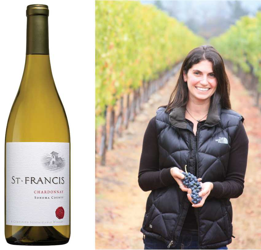 Katie Madigan and St. Francis Sonoma County Chardonnay wine bottle