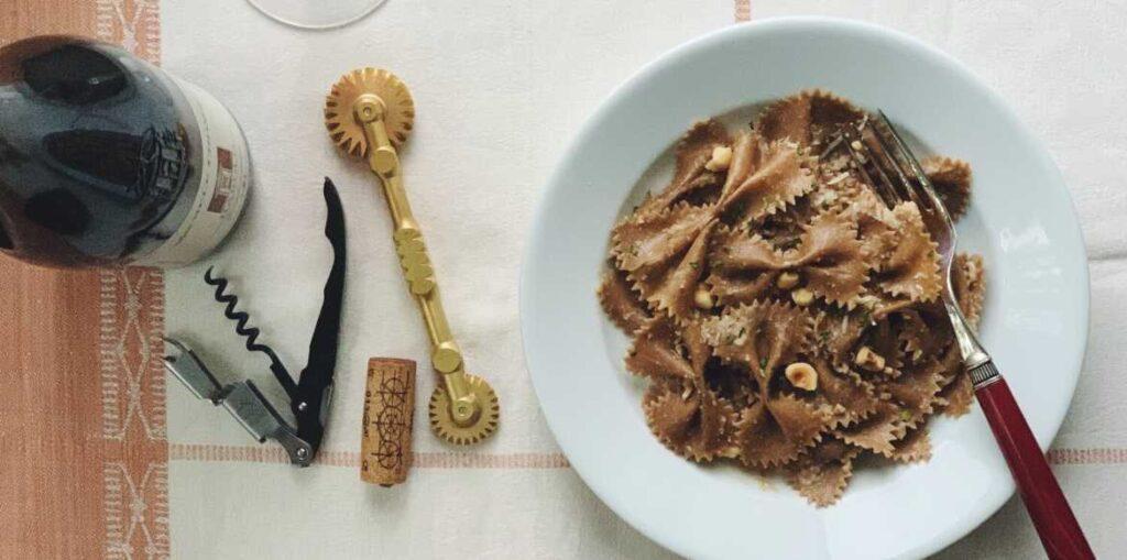 Michele Chiarlo Barolo and cocoa farfalle