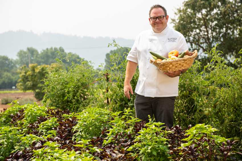 St. Francis' Chef Janiak in the garden