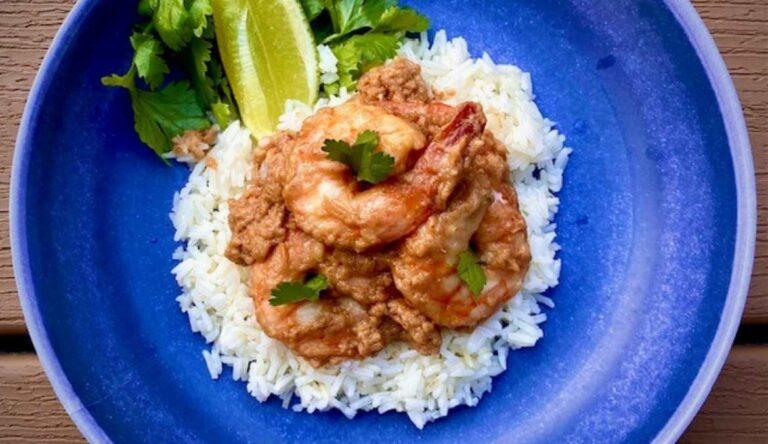 Thai Peanut Coconut Shrimp on blue dish