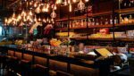 Wine bar with hanging lights