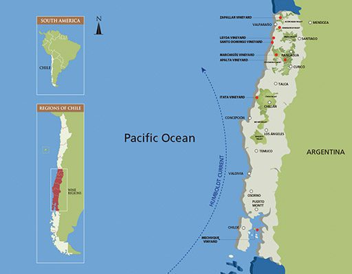 Humboldt Current, Chile map