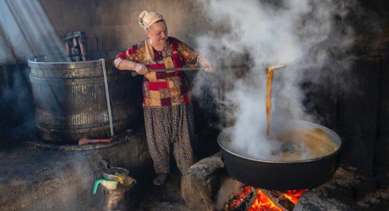Big-pot-cauldron-on-fire-full-of-soup-stew