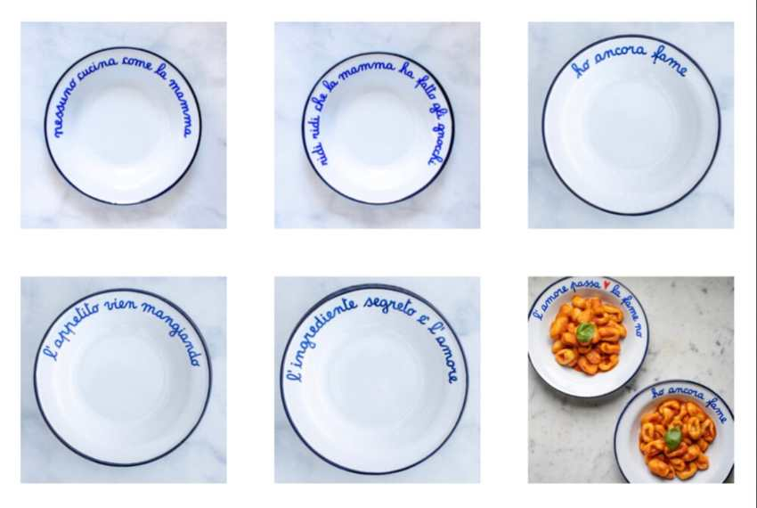 Enamel pasta bowls with Italian phrases
