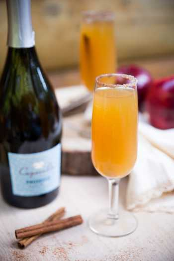 Fall cocktail - Prosecco and Apple Cider Mimosa